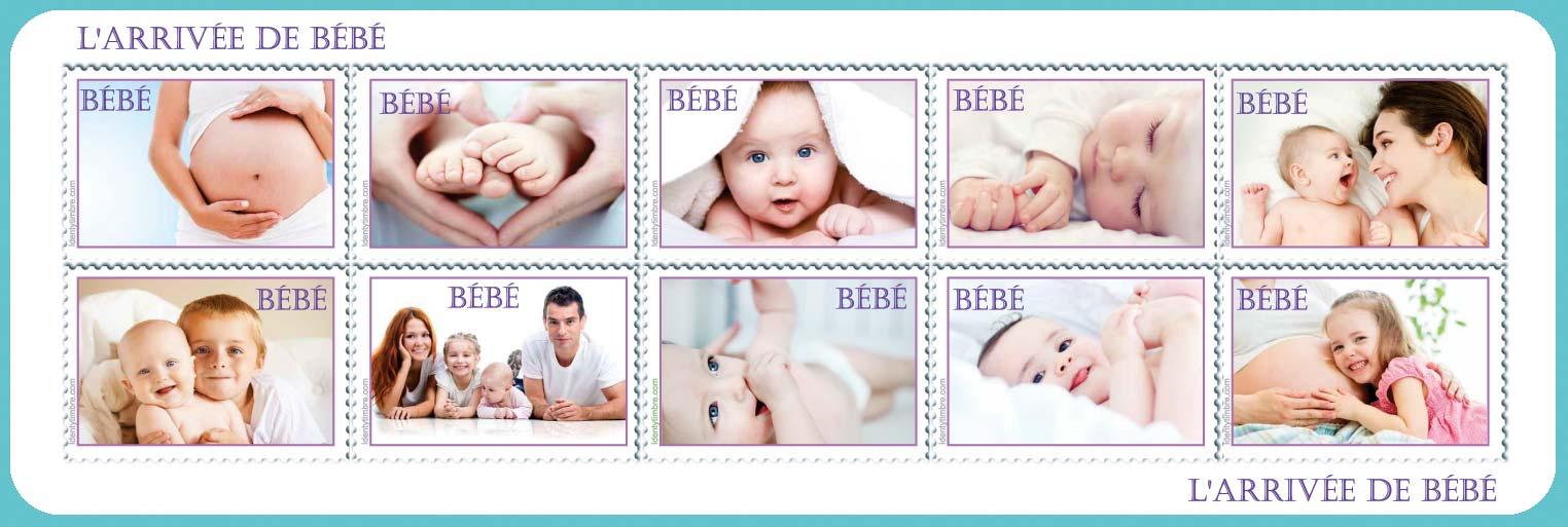 planche de 10 timbre vignettes - Timbres Personnaliss Mariage